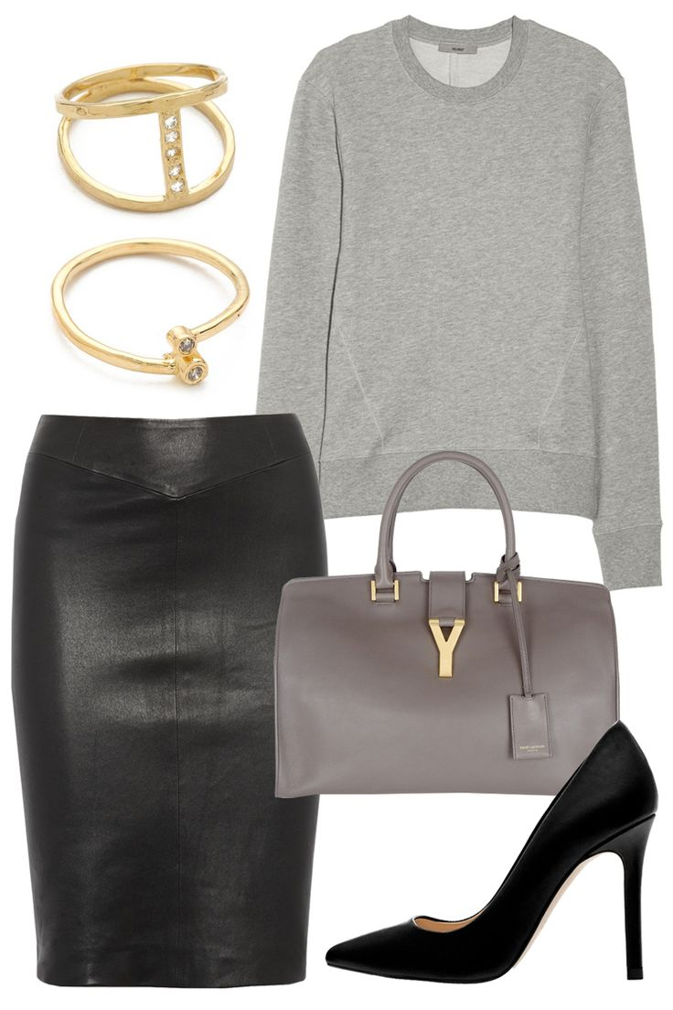 Add rich fabrics and keep the silhouette sophisticated to dress up a gray sweatshirt for work.