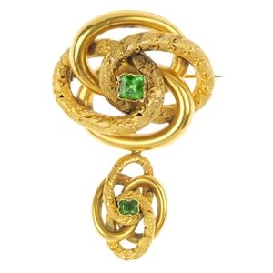 A mid 19th century foil-back emerald pendent brooch, circa 1870