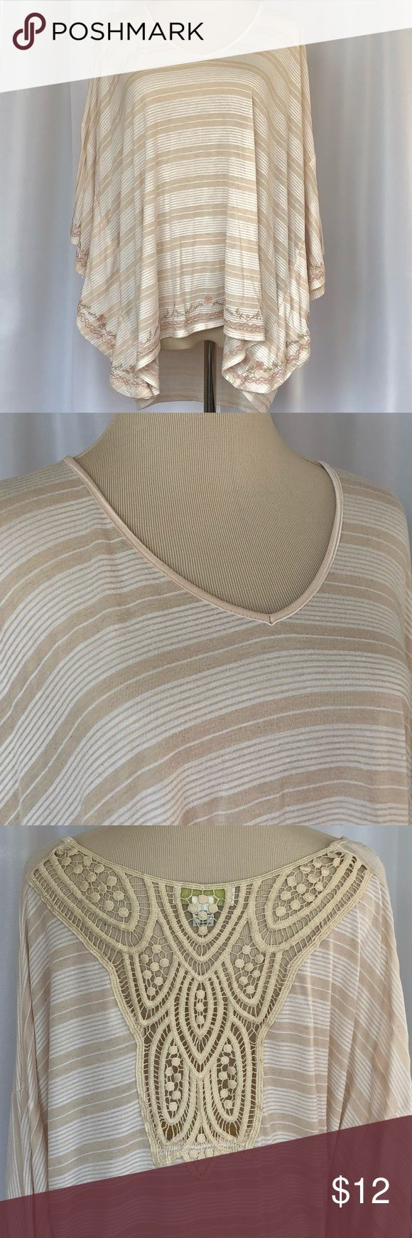 Forever 21 Oversized Slouchy Top Lacy Oversized Slouchy Poncho Style V-Neck Top  Forever 21 light tan and cream striped with lace and embroidered flower details. GUC some minor piling. Size 2x Forever 21 Tops Tunics