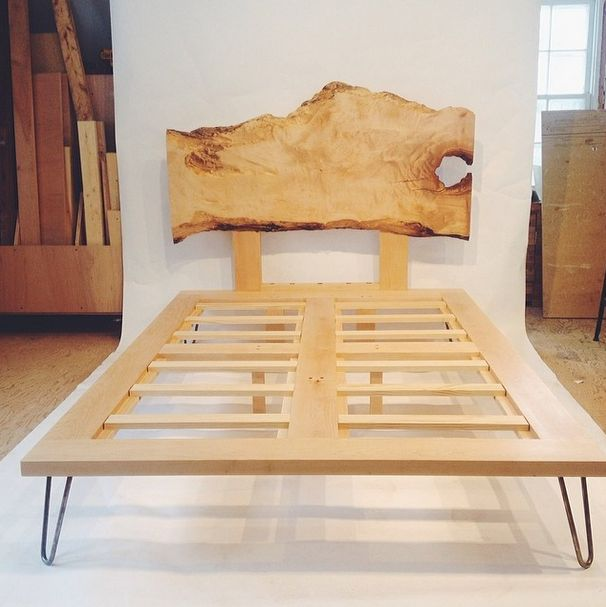 Hairpin Leg Bed With Live Edge Headboard For The Home