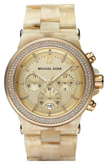 michael kors resin & crystal bezel watch. santa baby, i've been a good girl this year!