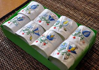 Hand embroided napkin holders. Inspired by Polish folk art.