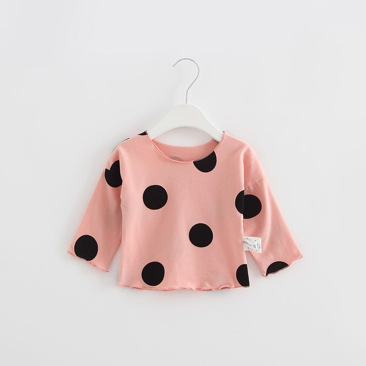 2017Spring Autumn New hot sale children's clothes boys and girls baby Long sleeves polka dot round neck cotton100% T-shirt