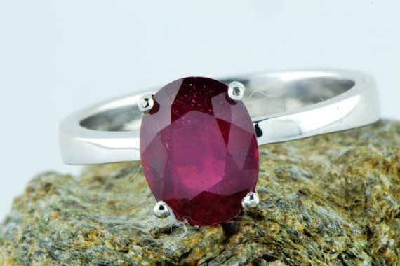 Lab. Corondum Ruby Ring July Birthstone Ring by LuckyGirlAtelier