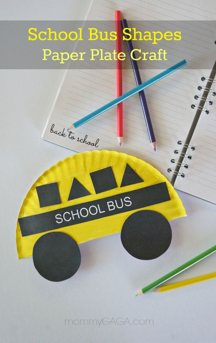 Back to School Crafts for Kids, Paper Plate School Bus with Shapes