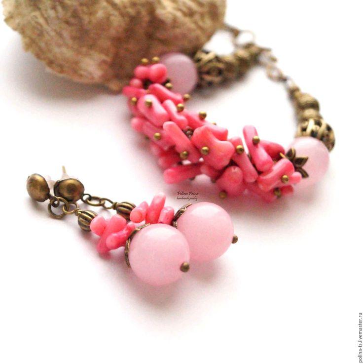 """Купить Браслет и серьги """"Малиновый пунш"""" розовый кварц, коралл - розовый, для нее, подарок девушке"""