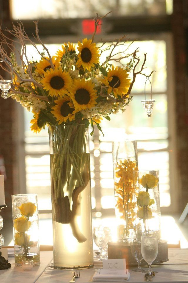 Sunflower centerpiece, wedding, yellow