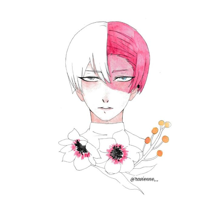 Todoroki Shouto with Bicolor Anemone