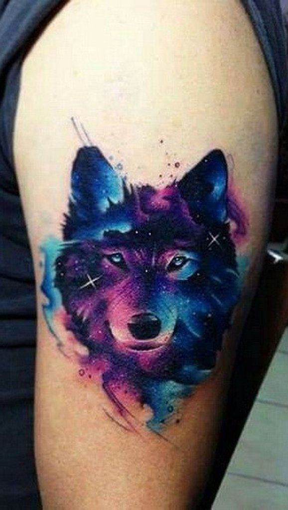 Watercolor Wolf Tattoos Designs & Ideas on Media Democracy Cute Small Tattoos, Cute Tattoos, Body Art Tattoos, Sleeve Tattoos, Space Tattoos, Wing Tattoos, Wolf Tattoo Design, Tattoo Designs, Tattoo Ideas
