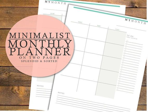 MONTHLY PLANNER template  minimalist two page by splendidandsorted