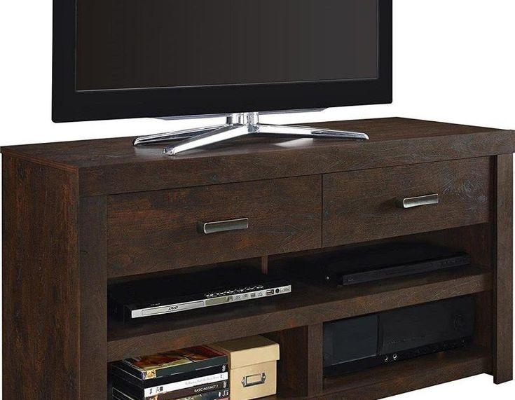 Dark Wood Tv Stand Entertainment Console Walnut