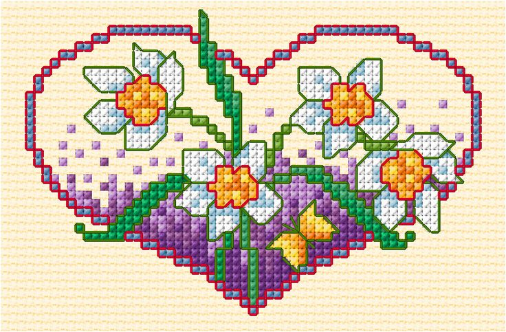 Spring Flower Heart, designed by Lesley Teare, from her blog.