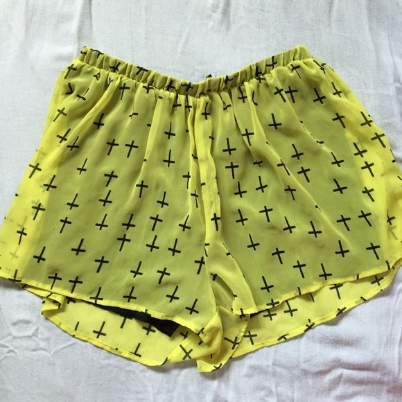 Lime green shorts Super comfortable lined shorts with cross design and elastic waist band 😘 make an offer! Shorts