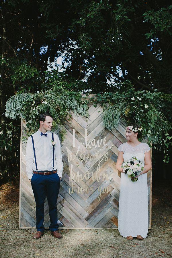 """I have always known it was you"" backdrop, photo by Bek Grace http://ruffledblog.com/gold-coast-backyard-wedding #weddingideas #ceremony #backdrops"