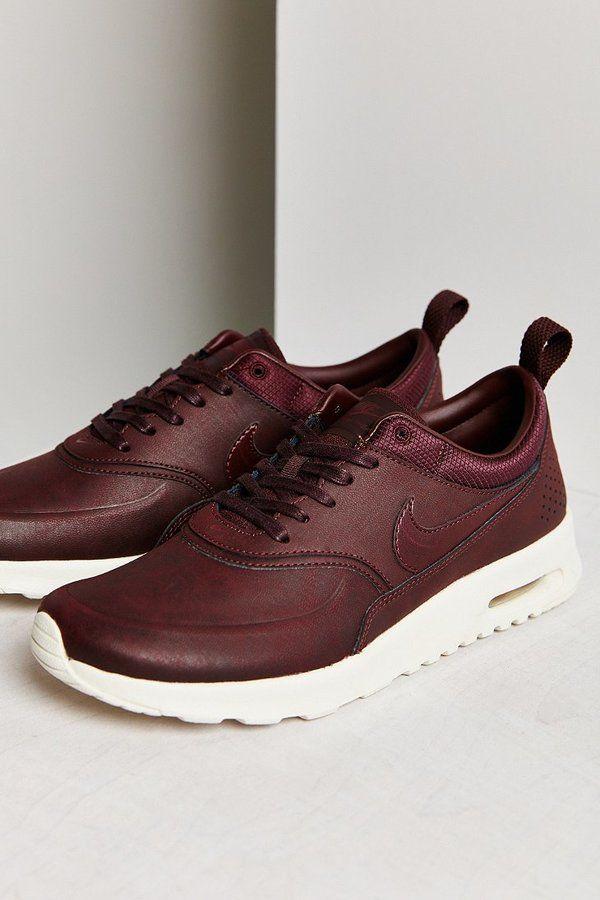 Nike Air Max Thea Chaussures En Cuir Premium Bourgogne Jordans