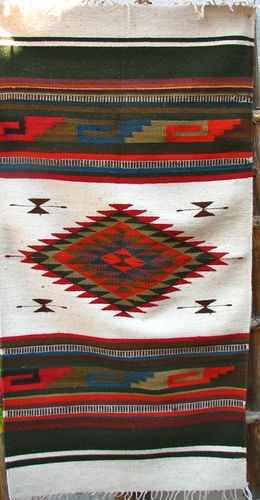 "Native Zapotec Indian Rug 100 Wool Hand Woven 60""X30"" 