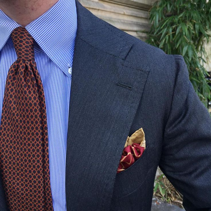 Pocket Square - Floral in rusty orange, white, red and blue Notch