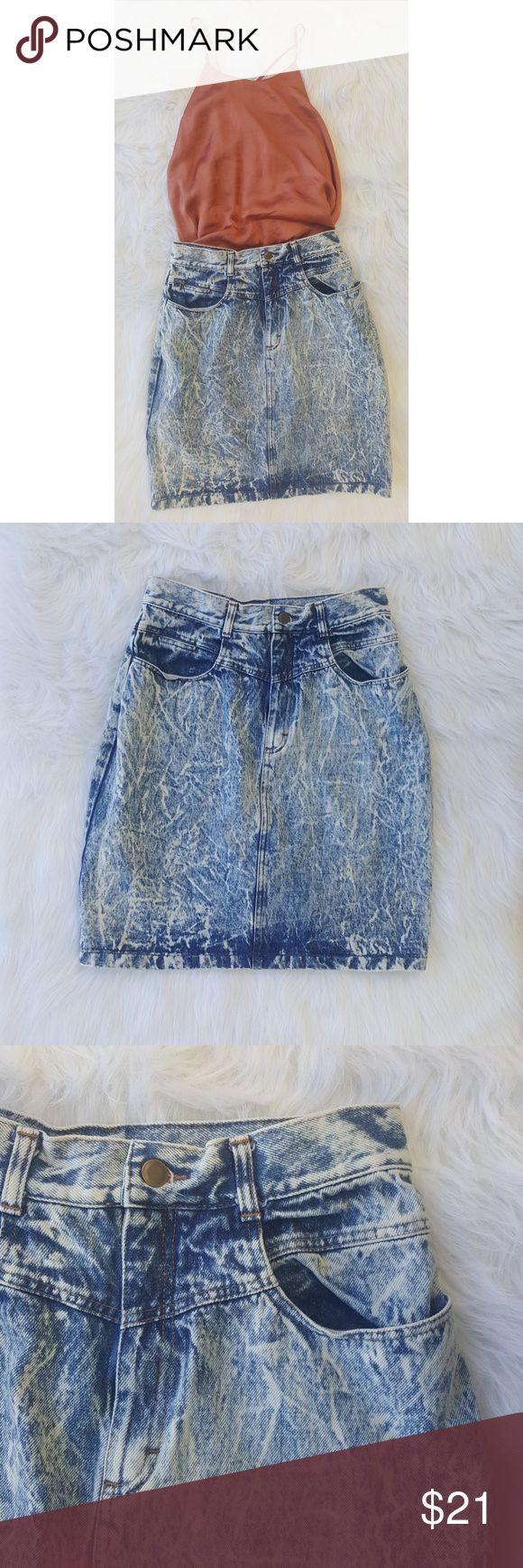 Selling this Vintage Acid Washed High Waisted Jean Skirt on Poshmark! My username is: alixclausen. #shopmycloset #poshmark #fashion #shopping #style #forsale #Dresses & Skirts