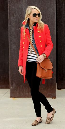 red coat, denim jacket, stripes, leopard loafers