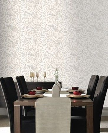 Graham And Brown Premier Silver Saville Silver Vinyl Wallpaper 20-012