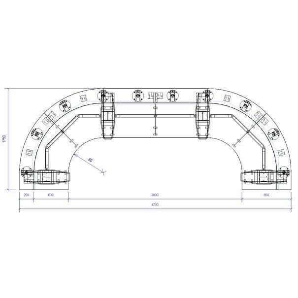 Producto: Sala de Control Mesón Curvo Recto 2 o 3 personas 18 monitores - Mobiliario