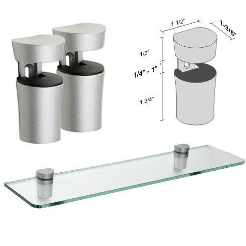 "Dolle Bin Silver Adjustable Glass Shelf Brackets - Pair by Dolle. $19.95. For Glass Shelves or Wood Shelves from 1/4"" to 1"" Thick. For Shelves Up to 10"" Deep (Protrusion from Wall) Typical Applications Include Bathroom Shelves, Displays, Speakers, Collectibles. The Dolle BIN metal shelf bracket set is a simple shelf support that works very well with glass shelving. The column shape is simple and eloquent for a very contemporary look when paired with a glass shelf shelf..."