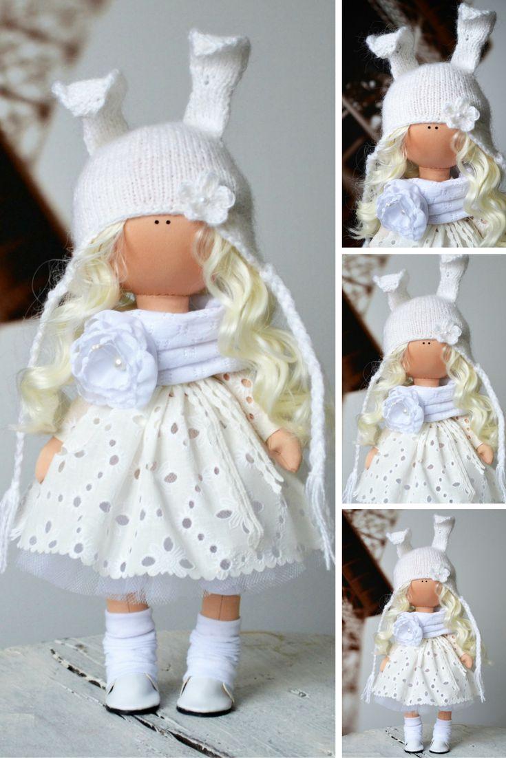 Bunny doll Rag doll Tilda doll Fabric doll Interior doll Handmade doll White doll Soft doll Nursery doll Cloth doll Collectable doll by Olga