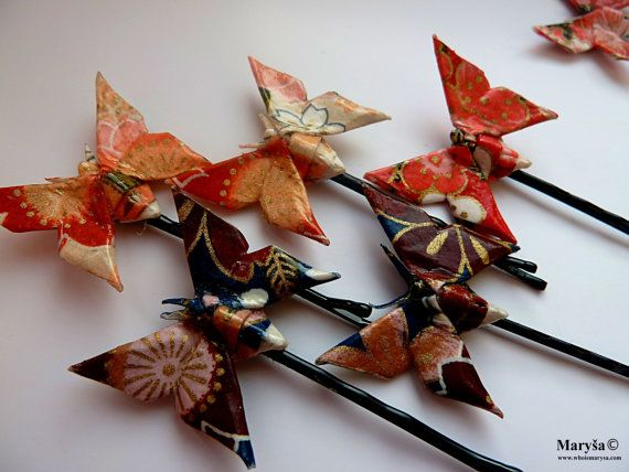 Origami Hair Butterfly Clips Surprise gift Idea by MarysaArt