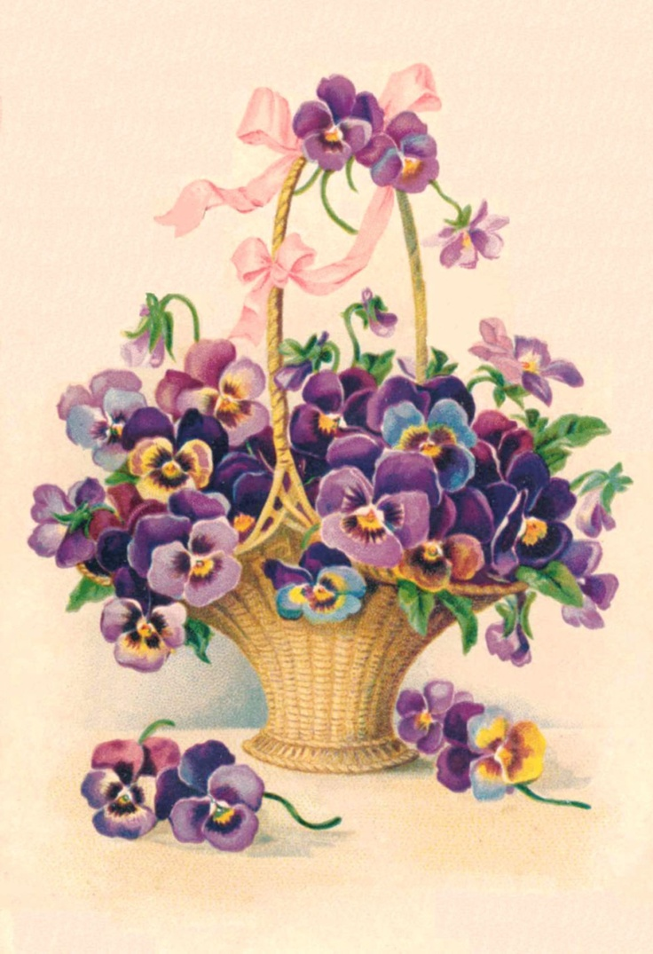 Vintage Pansy in a basket