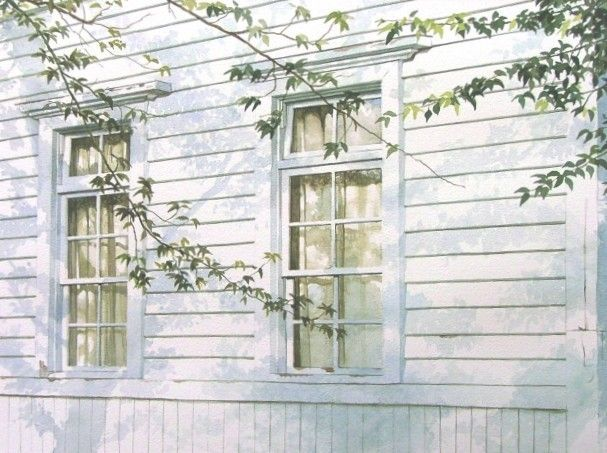 Very effective use of shadows on a white building to create depth.  (Abe Toshiyuki Watercolor)