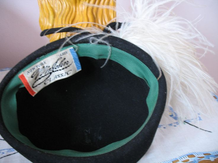 1940's Topper Hat Mr John Classic Ostrich by SusieQsVintageShop