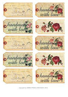 Vintage rose tags : Free Download