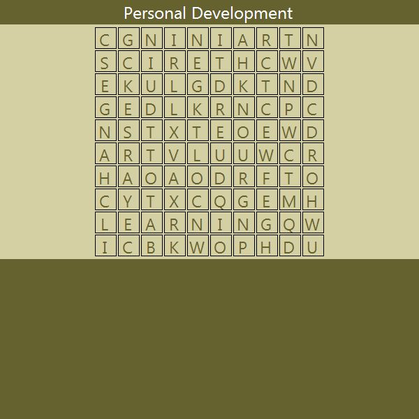 Word Search - Personal Development  Find the Six Words