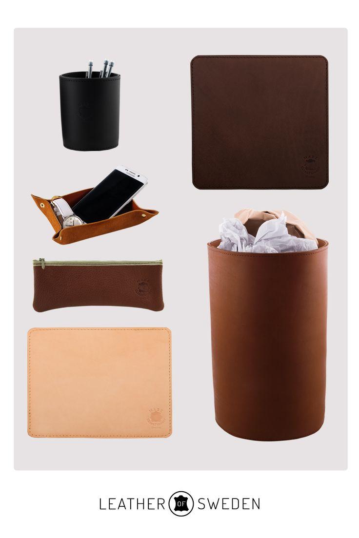 Skrivbords tillbehör i läder. #leather #skrivbord #desk #design #madeinsweden #läder #office