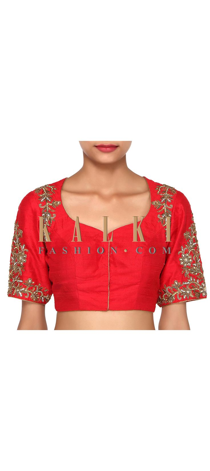 Buy Online from the link below. We ship worldwide (Free Shipping over US$100). Product SKU - 276342. Product Link - http://www.kalkifashion.com/red-blouse-adorn-in-kundan-and-sequin-embroidery-only-on-kalki.html