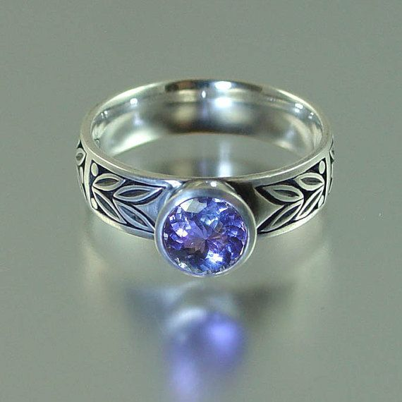 SACRED LAUREL 14K white gold ring with Tanzanite by WingedLion, $725.00