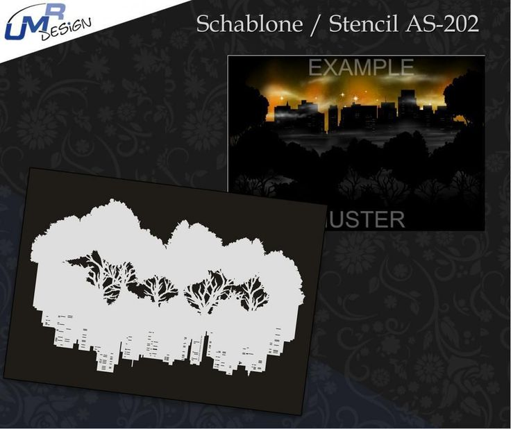 Single Step Airbrush Schablone As-202 Stadt BäUme ~ Tattoo Stencil ~ Umr-Desig