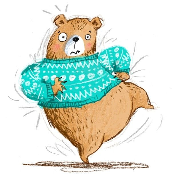 My bear has a VERY itchy jumper.. Sort of inspired by those itchy scratchy bears in the latest Planet Earth documentary. #Bear #Scratch #illustration #kidsbook