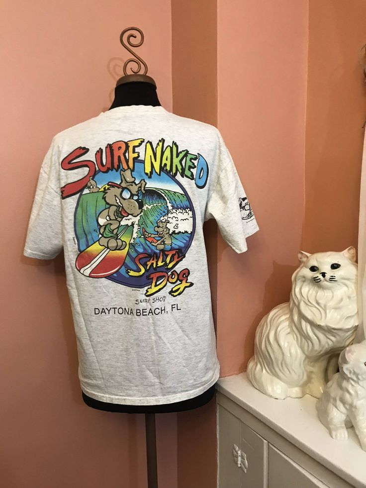 Vintage 90s TShirt, Daytona Beach, Spring Break, Salty Dog,  Surf Naked, Surf Shop, Surfer, Skater, Beach Bum, M (B380)