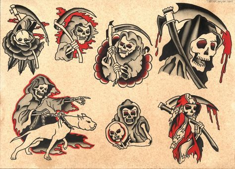 Traditional Grim Reaper Tattoo Flash