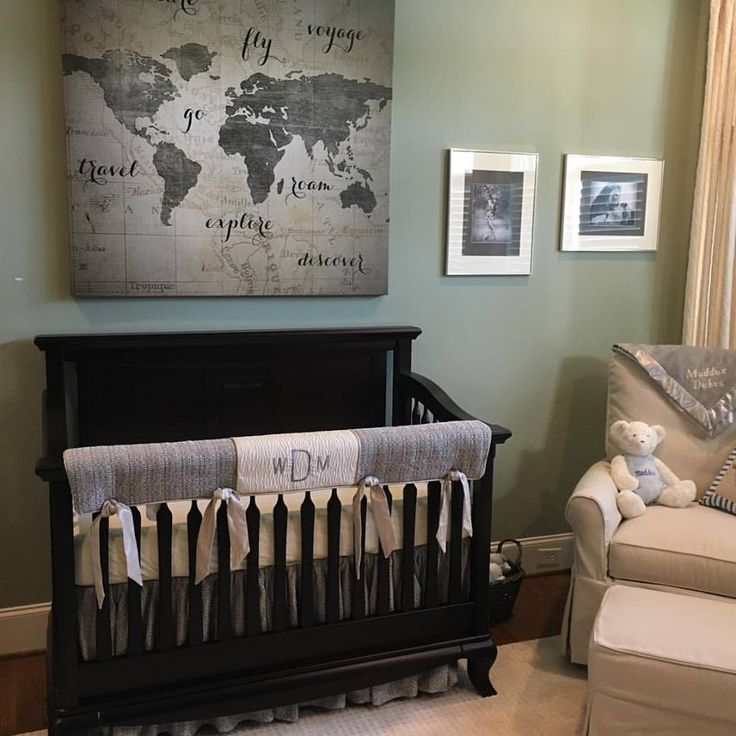Grey crib bedding in a travel theme nursery and we added the baby's monogram to the crib rail guard.  designed at Baby Furniture Plus Kids and sewn in the USA