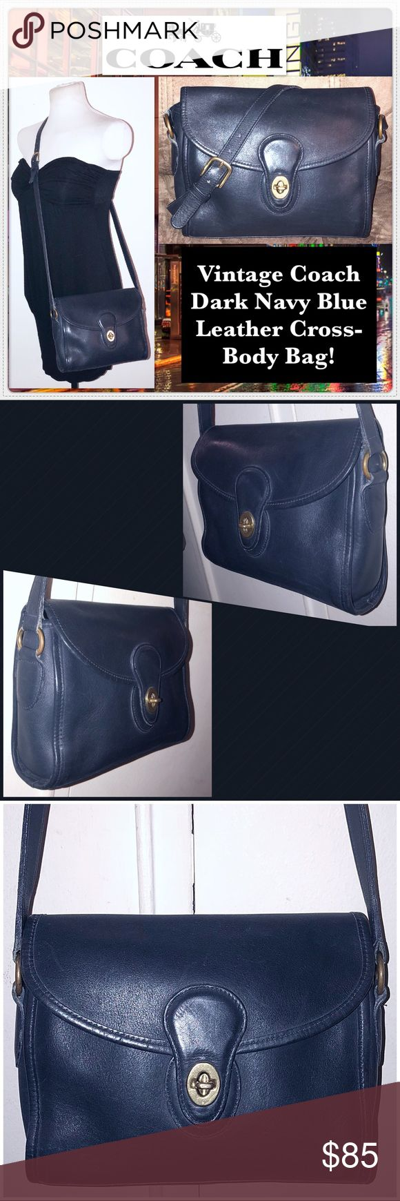 "Vintage Coach Dk Navy Blue Leather Cross-Body Bag! Vintage Coach Dark Navy Blue Leather Cross-Body Bag! Features: 100% authentic, Original & Classic Coach bag, Dark Navy Blue color, Glove-Tanned leather, Made in USA, Gold tone hardware, front pocket w/ twist closure, one zip pocket & adjustable strap. Coach creed & registration no. on inside. Measures approx. 7""H x 2.5""D x 9""L with up to a 23"" clearance. No Coach hang tag. No rips, tears or damage. Very minor ext marks. VG condition! Offers…"