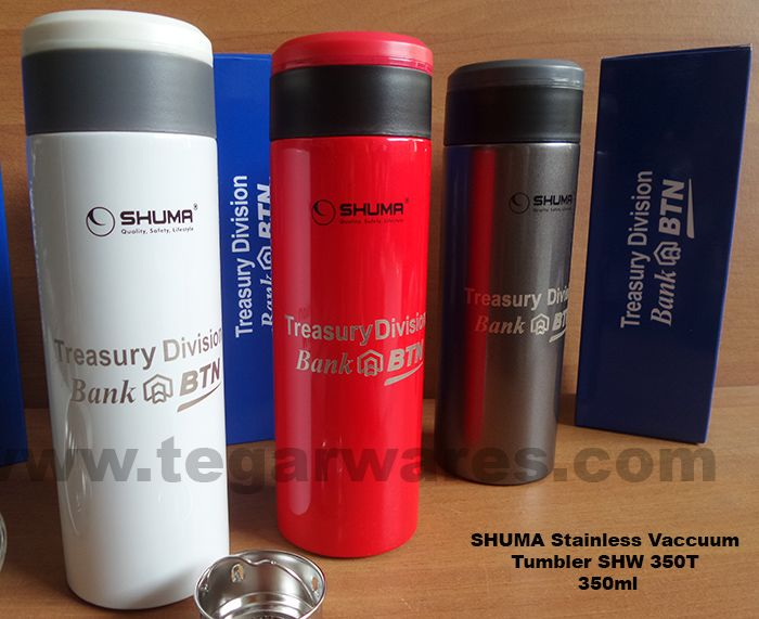 A 350ml SHUMA Stainless Vaccuum Flasks. Available in three colors, with engraving print logo. Packaging box are optional.