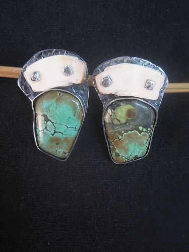 August Moon Earrings | e-bu Jewelry - Contemporary Primitive Jewelry  ||  Sterling Silver, Mammoth Ivory, Turquoise, Posts.  PRICE $150