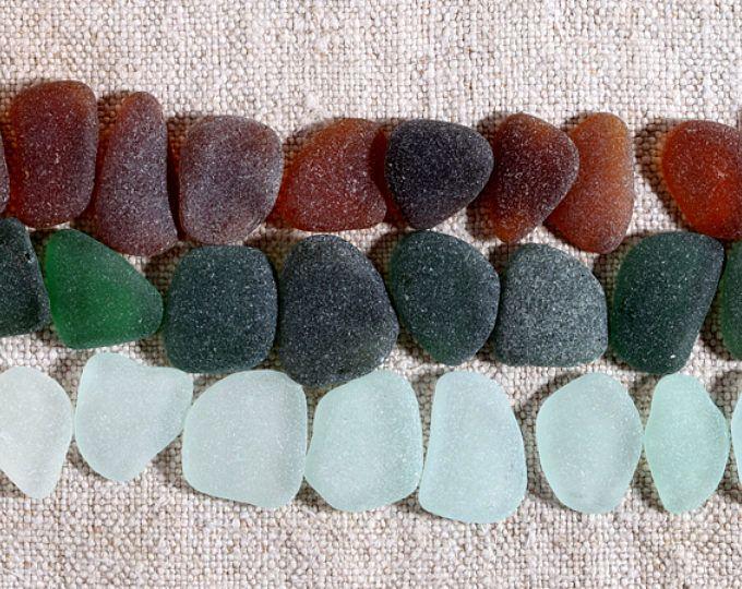 Mezcla de cristal de mar genuina / 30 piezas playa italiana de cristal para joyería y mosaico / suministros de vidrio de mar Natural para boda de playa (sg-0030-4)