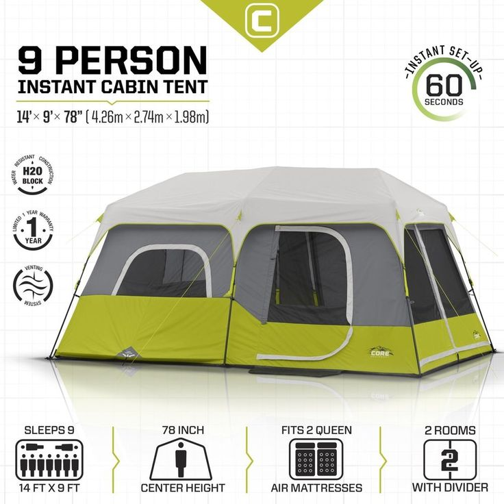 9 Person Outdoor Instant Cabin Tent 14' x 9' Camping Outdoor Hike Sport Canopy  #9PersonOutdoorInstantCabinTent #Cabin