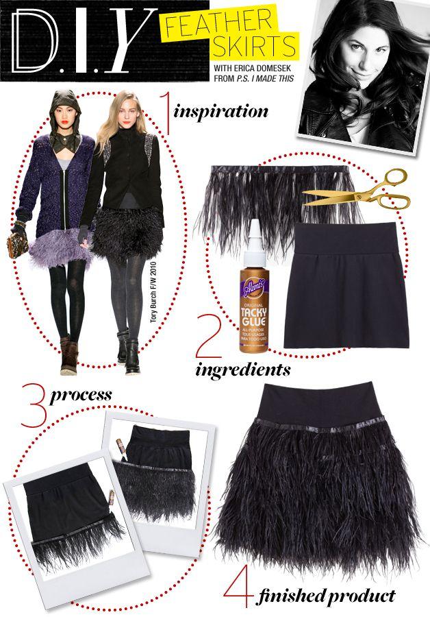 DIY: Feather SkirtsCelebrities Style, Black Sequins, Diy Crafts Feathers, Diy Fashion, Diy Craftproject, Diy Feathers Skirts, Diy Clothing, Feathers Skirts Diy, Diy Skirts Clothing