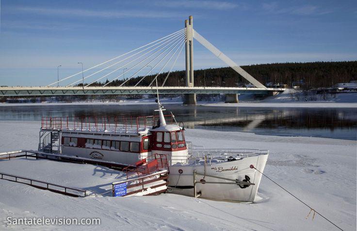 Rovaniemi City Center crossed by the Kemijoki River in Lapland (Finland)