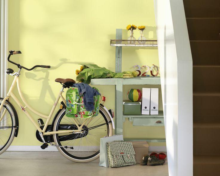 Rafraîchissez votre entrée avec une teinte claire de jaune citron. Cette entrée fait le meilleur usage des nuances de jaune citron pour optimiser la lumière et l'espace.