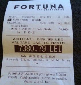 Un bucureștean a speriat agenția Fortuna cu un bilet INCREDIBIL la Euro 2016!